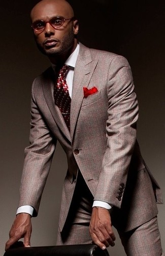 Men's Grey Suit, White Dress Shirt, Red Argyle Tie, Red Pocket