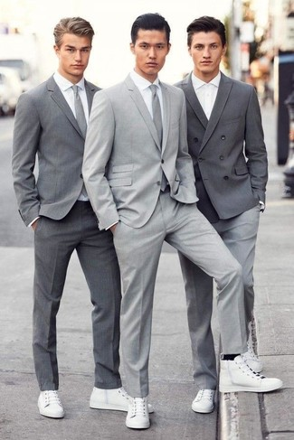 Men's Grey Suit, White Dress Shirt, White Leather High Top Sneakers, Grey Tie