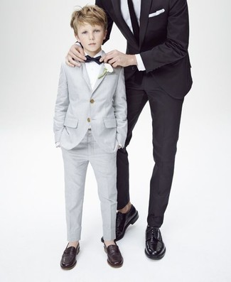 Boys' Grey Suit, White Long Sleeve Shirt, Dark Brown Loafers, Black Bow-tie