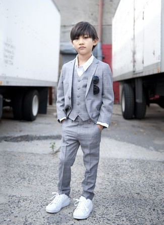 Boys' Grey Suit, White Long Sleeve Shirt, White Sneakers, Black Sunglasses