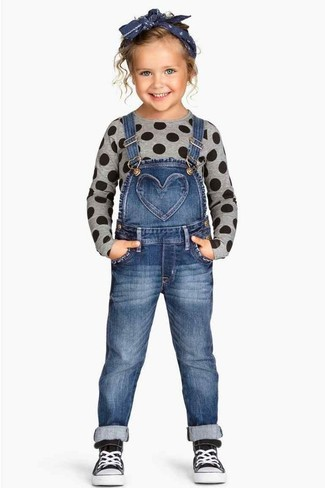 Girls' Grey Sweater, Blue Denim Overalls, Black Sneakers