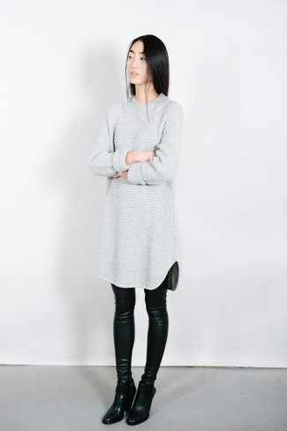 Women's Grey Sweater Dress, Black Leather Leggings, Black Leather Ankle Boots