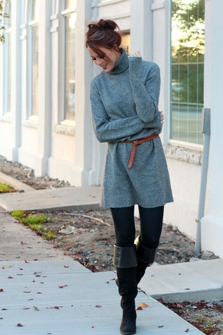 How to wear: grey sweater dress, black leggings, black suede over the knee boots, red leather belt