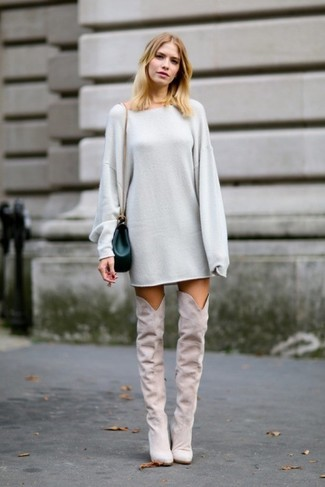 Wear a sweater dress for a refined yet off-duty ensemble. Grey suede over the knee boots are a great choice to complement the look. There's nothing like a knockout combo to cheer up a dull fall afternoon.