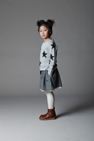 How to Wear a Grey Skirt For Girls: For an everyday outfit that is full of character and personality choose a grey star print sweater and a grey skirt for your darling. Dark brown leather boots are a smart choice to round off this style.