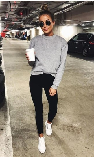 How to wear: grey sweatshirt, black skinny pants, white low top sneakers, black sunglasses