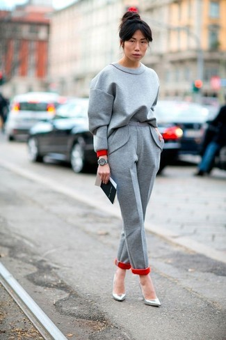 How to wear: grey sweatshirt, grey wool dress pants, silver leather pumps, grey leather watch