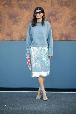 How to wear: grey sweatshirt, silver pencil skirt, light blue leather heeled sandals, multi colored leather clutch