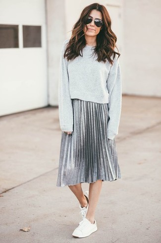 How to wear: grey sweatshirt, silver pleated midi skirt, white low top sneakers