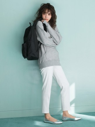 How to wear: grey sweatshirt, white vertical striped tapered pants, silver leather ballerina shoes, black canvas backpack