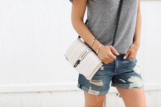 Small Riley Leather Crossbody Bag White
