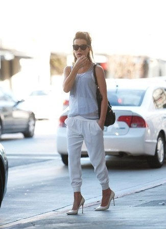 Grey tank white sweatpants white pumps large 1502