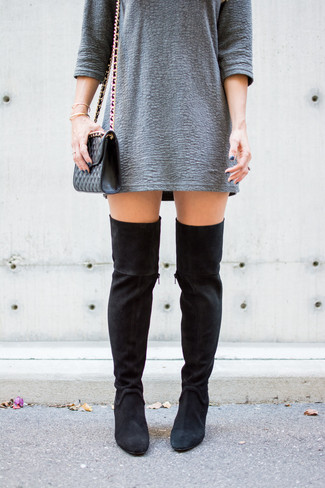 How to wear: grey textured shift dress, black suede over the knee boots, black quilted leather crossbody bag