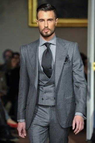 How to wear: grey three piece suit, grey dress pants, black tie, black pocket square