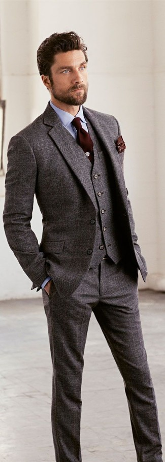 How to wear: grey wool three piece suit, light blue dress shirt, dark brown tie, dark brown print pocket square