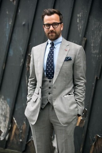 Men's Grey Three Piece Suit, Light Blue Dress Shirt, Navy Print