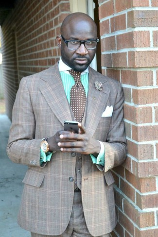 How to wear: grey plaid three piece suit, mint vertical striped dress shirt, brown polka dot tie, white silk pocket square