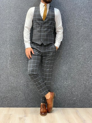 How to wear: grey check three piece suit, white dress shirt, brown leather derby shoes, mustard tie