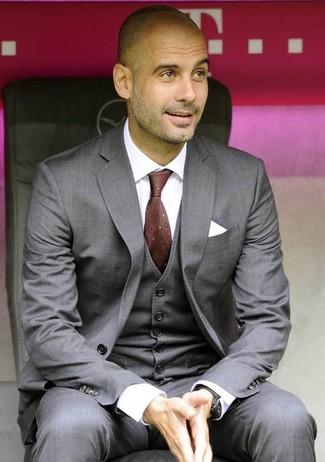 How to wear: grey three piece suit, white dress shirt, burgundy print tie, white pocket square