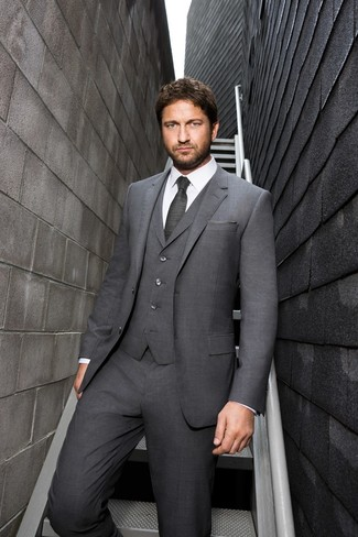 How to wear: grey three piece suit, white dress shirt, charcoal tie, grey pocket square