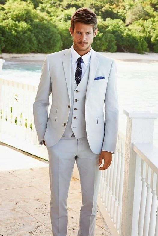 Men's Grey Three Piece Suit, White Dress Shirt, Navy and White