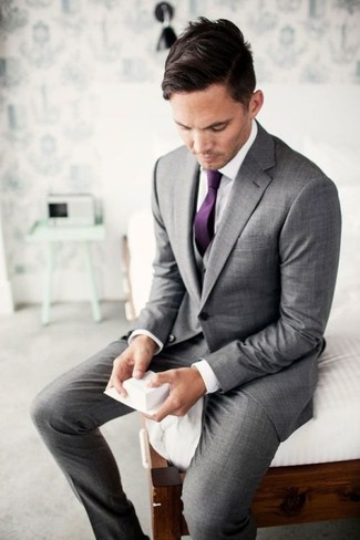 Men's Grey Three Piece Suit, White Dress Shirt, Purple Tie | Men's ...
