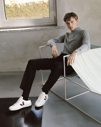 How to Wear a Grey Turtleneck For Men: A grey turtleneck and black chinos will add serious style to your current casual rotation. Get a bit experimental with shoes and dial down this outfit with white leather low top sneakers.