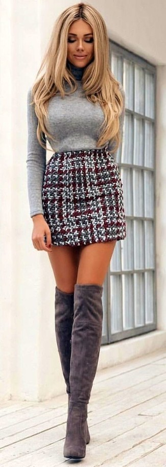 How to wear: grey turtleneck, burgundy tweed mini skirt, grey suede over the knee boots
