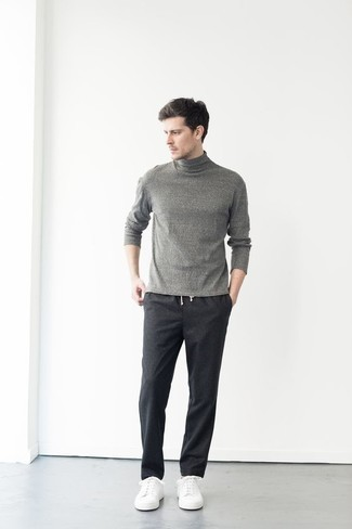Charcoal Chinos Outfits: Why not marry a grey turtleneck with charcoal chinos? As well as very practical, both pieces look great when matched together. And if you want to easily dial down your outfit with a pair of shoes, why not complete this getup with a pair of white canvas low top sneakers?