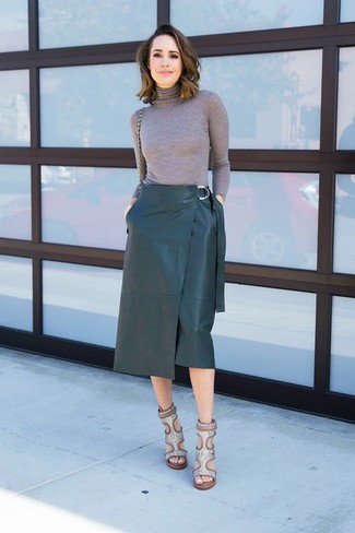How to wear: grey turtleneck, dark green leather pencil skirt, grey snake leather heeled sandals