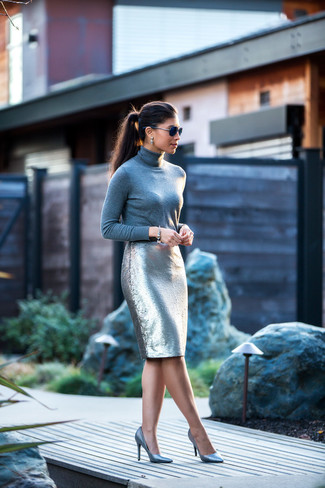 How to wear: grey turtleneck, silver sequin pencil skirt, silver leather pumps