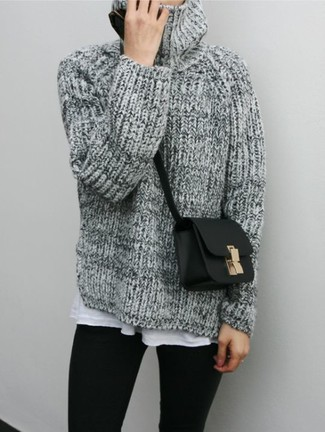 roll neck long sleeve sweater