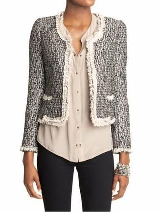 Women's Grey Tweed Jacket, Beige Button Down Blouse, Black Skinny Pants