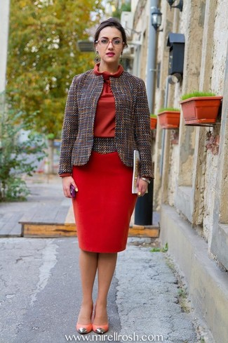 Women's Grey Tweed Jacket, Red Sheath Dress, Hot Pink Leather Pumps