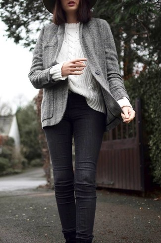 How to wear: grey tweed jacket, white cable sweater, black skinny jeans, charcoal wool hat