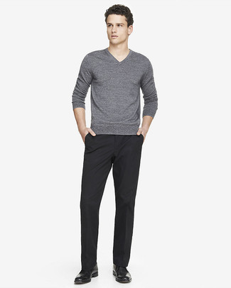 How to wear: grey v-neck sweater, black dress pants, black leather desert boots