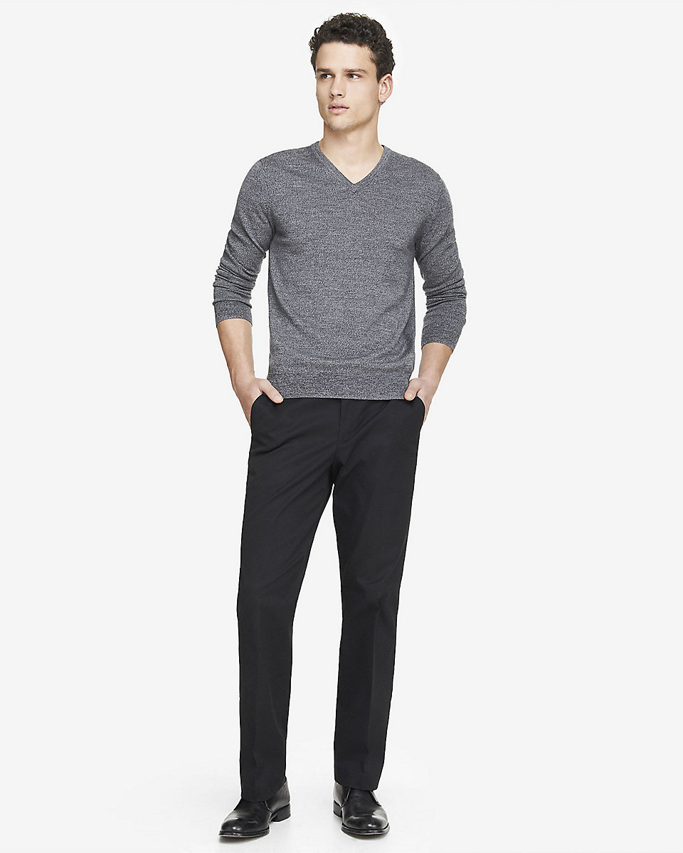 Dress In A Grey V Neck Sweater And Pants Like True Gent