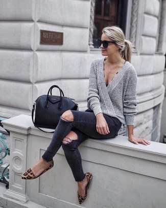 Pairing a grey v-neck pullover with black distressed slim jeans is a comfortable option for running errands in the city. Brown animal suede ballerina flats are a good choice to complete the look.