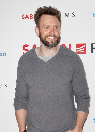 Men's Grey V-neck Sweater, Grey Crew-neck T-shirt