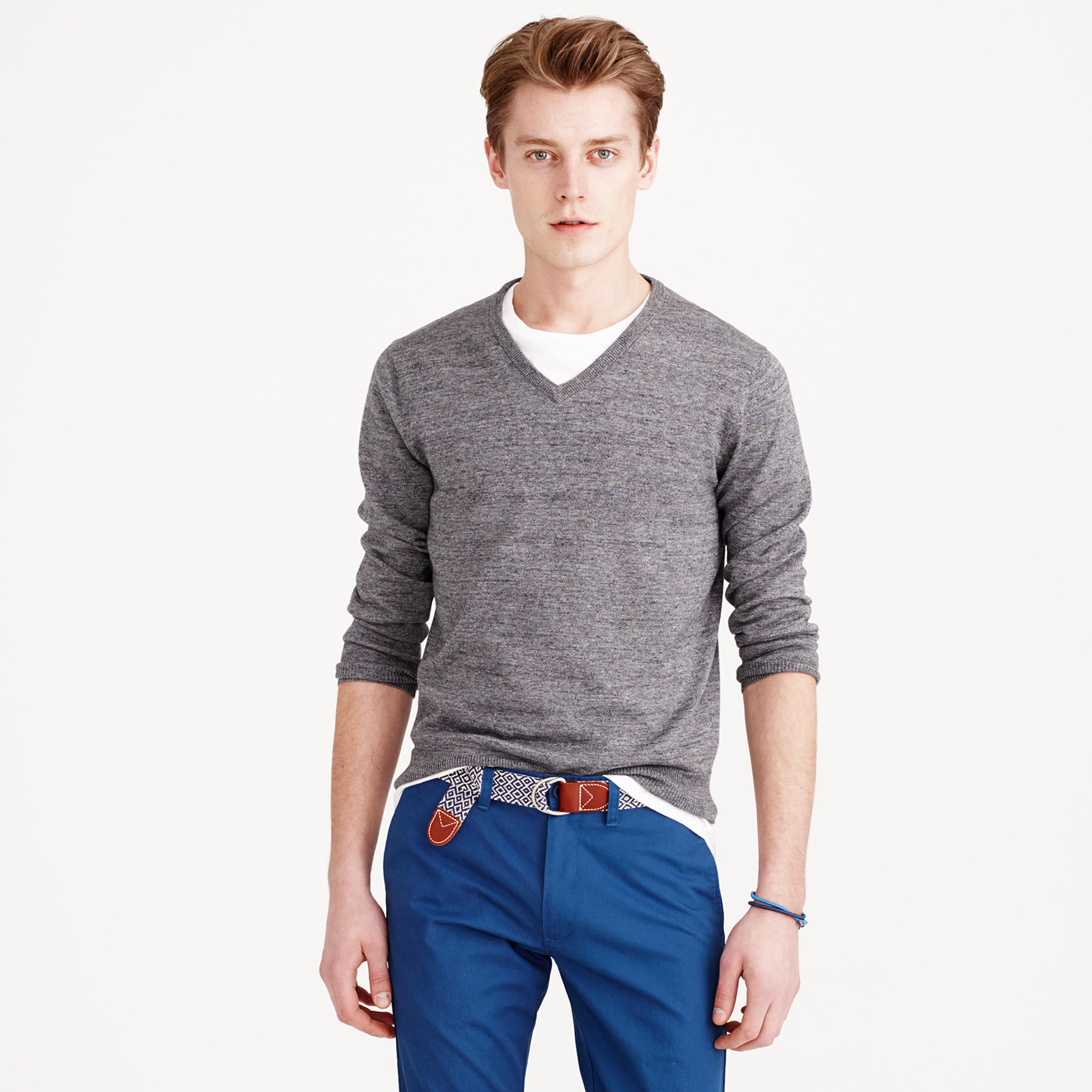 Men's Grey V-neck Sweater, White Crew-neck T-shirt, Blue Chinos ...