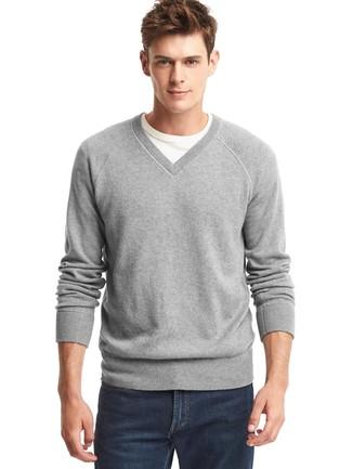 Men's Grey V-neck Sweater, White Crew-neck T-shirt, Navy Jeans