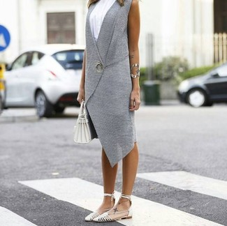 How to wear: grey vest, white tank, white leather ballerina shoes, white leather tote bag