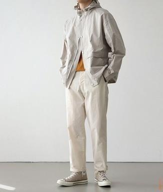 Beige Stretch Cotton Chino Pants