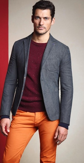 Yellow Chinos with Grey Blazer Outfits: For a casually classy ensemble, rock a grey blazer with yellow chinos — these items play perfectly together.