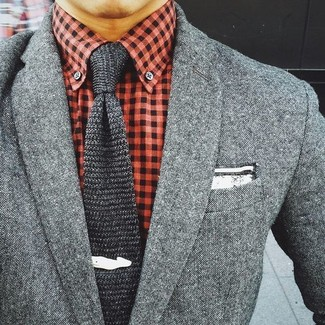 How to Wear a Red and Navy Gingham Dress Shirt For Men: A red and navy gingham dress shirt looks so effortlessly smart when worn with a grey wool blazer.