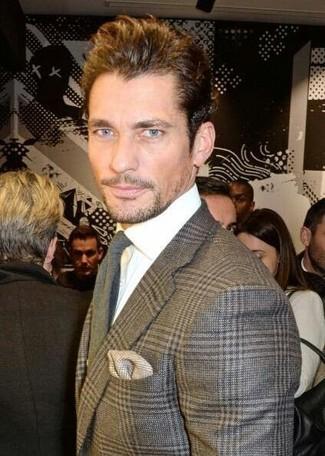 How to wear: grey plaid wool blazer, white dress shirt, grey wool tie