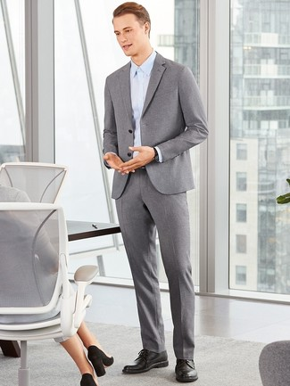How to wear: grey wool suit, light blue dress shirt, black leather derby shoes