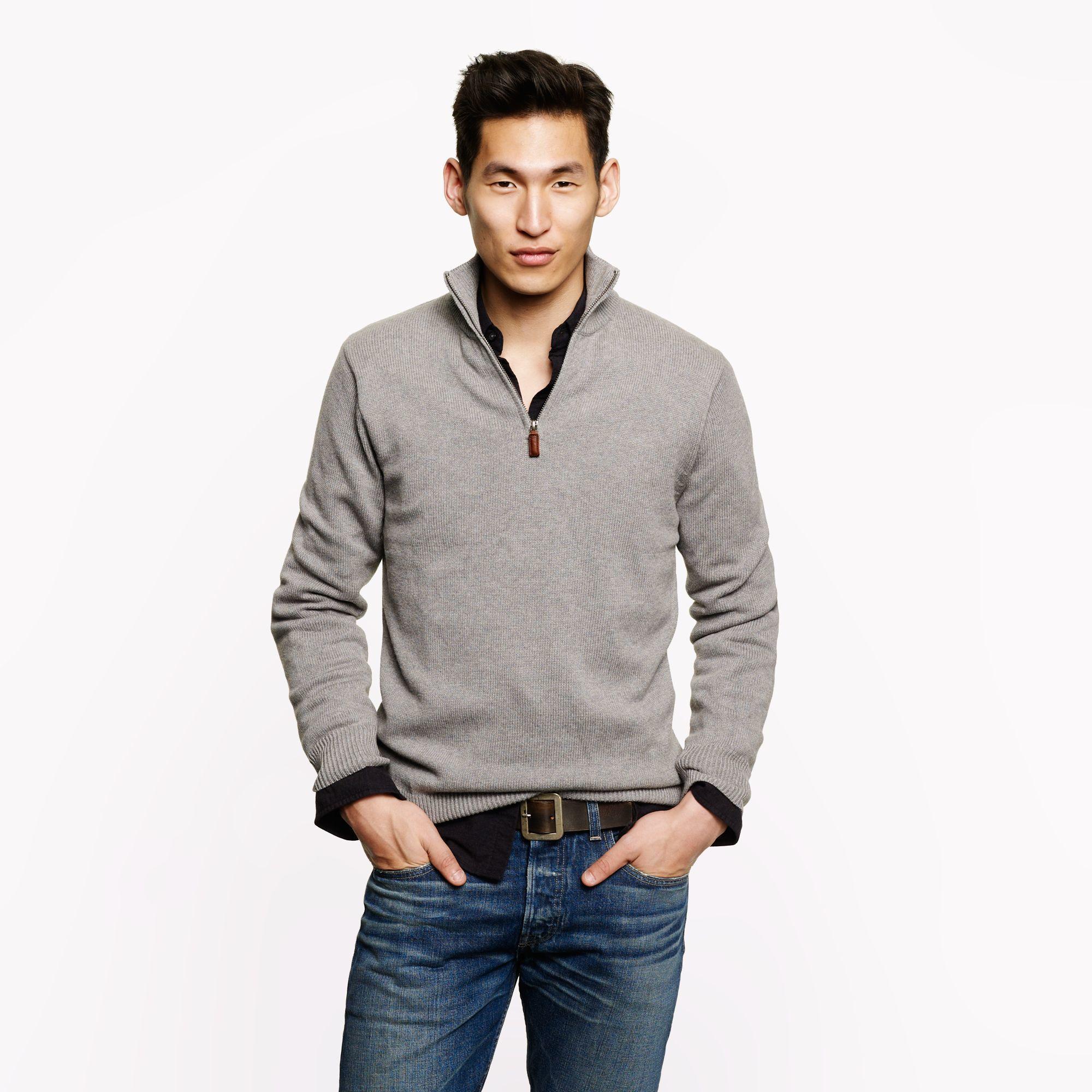 Men's Grey Zip Neck Sweater, Black Long Sleeve Shirt, Blue Jeans ...