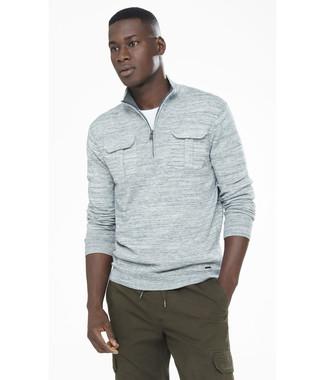 Men's Grey Zip Neck Sweater, White Crew-neck T-shirt, Olive Cargo Pants
