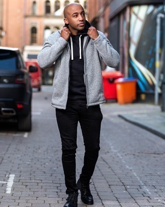 Men's Outfits 2020: If the situation allows casual dressing, opt for a black hoodie and black jeans. Rounding off with black leather desert boots is a fail-safe way to introduce a bit of flair to this outfit.